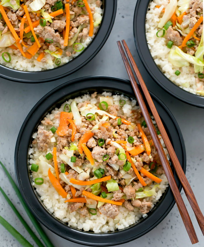 Egg Roll Bowl with Cauliflower Rice Meal Prep