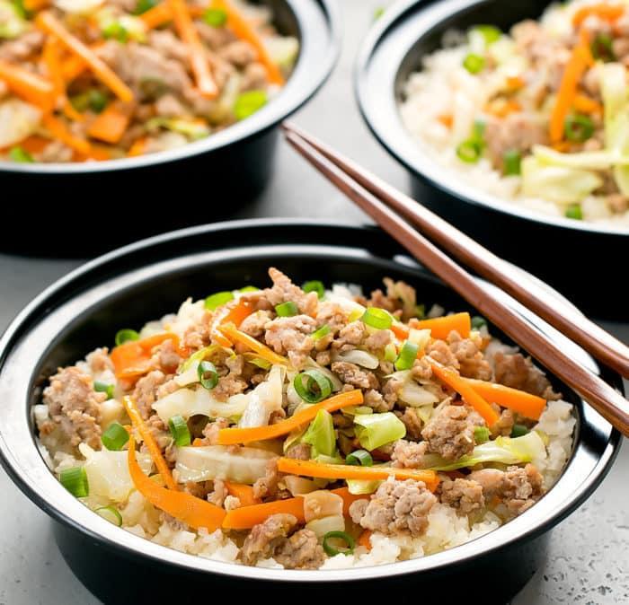 close-up of rice bowl