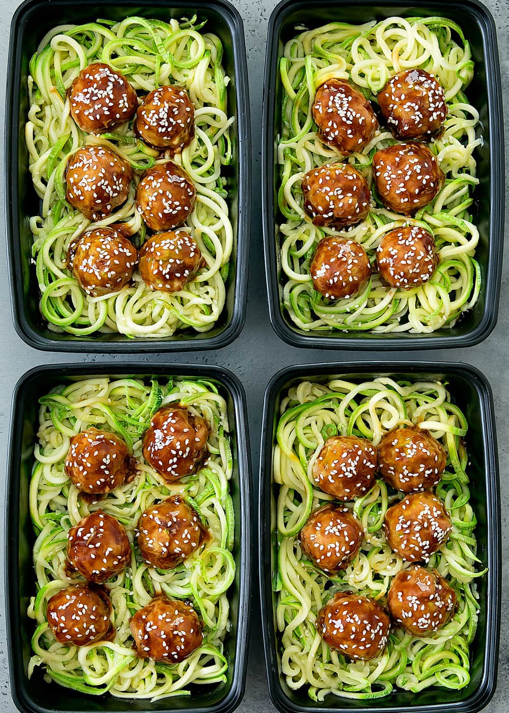 Asian Glazed Meatballs With Zucchini Noodles Meal Prep Kirbie S Cravings