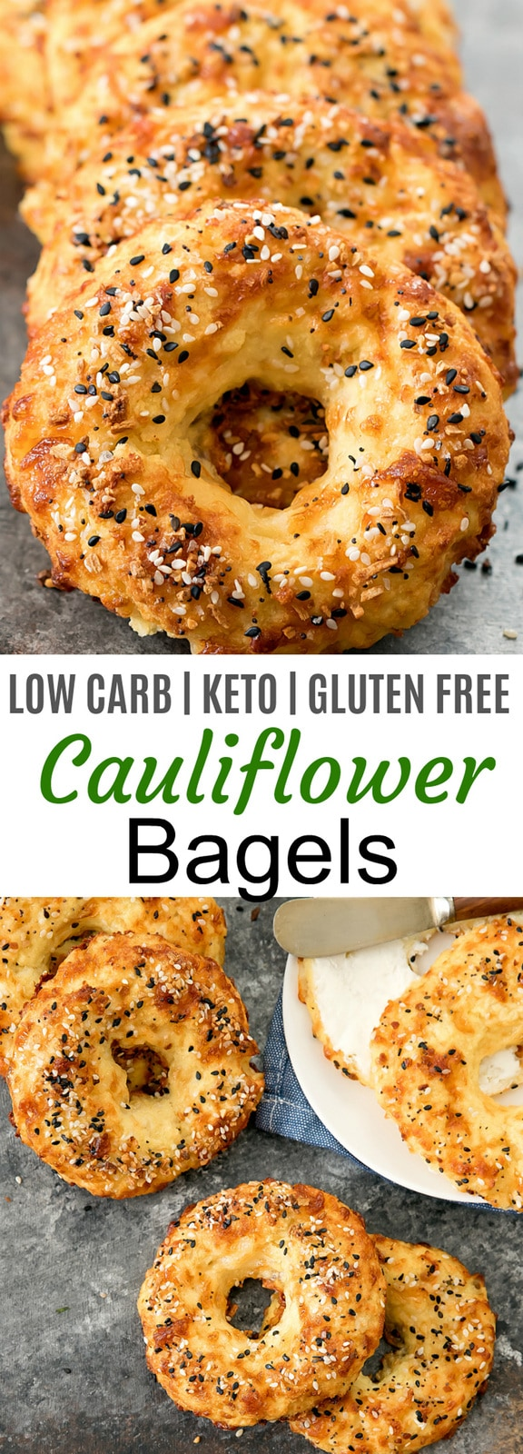 Cauliflower Bagels. Crusty, chewy bagels made with cauliflower! These taste like cheesy bagels and they are also low carb, keto, gluten free and wheat flour free.