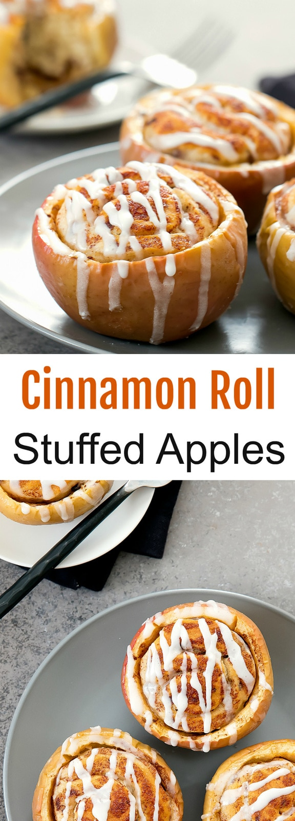 Cinnamon Roll Stuffed Baked Apples. A fun dessert that combines apple pie filling and cinnamon rolls into one. Great presentation for a party or Thanksgiving.