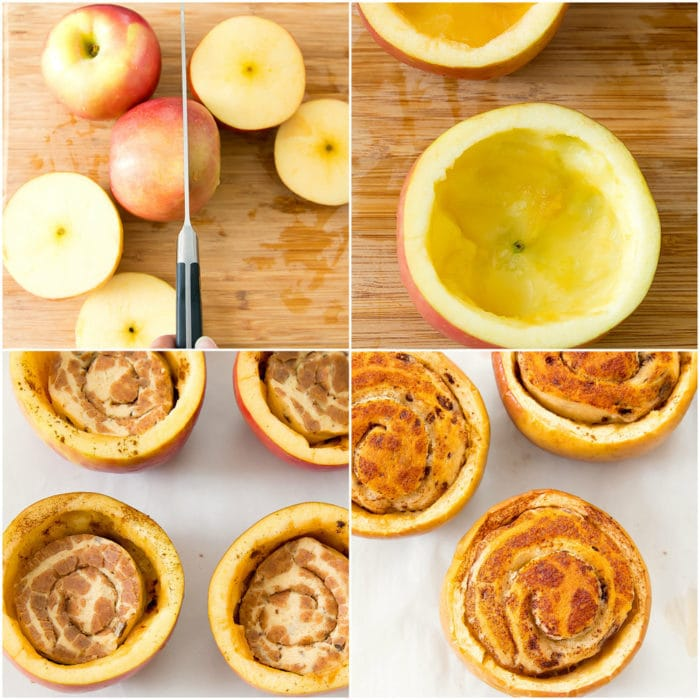 prep photos of how to make cinnamon roll stuffed apples