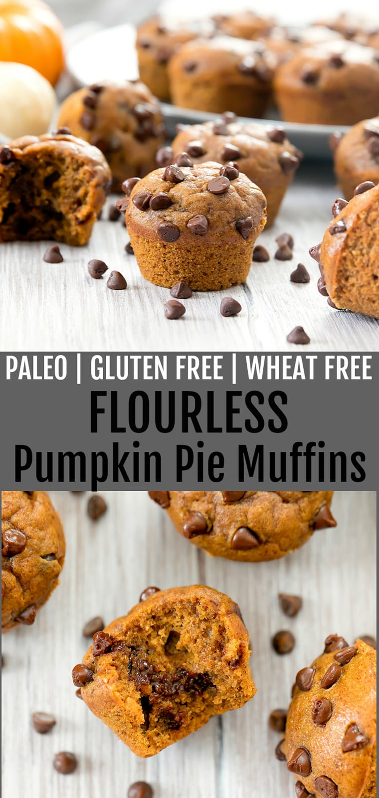 Flourless Pumpkin Pie Muffins. Fluffy, delicious and easy. Ready in less than 30 minutes. Paleo, gluten free, wheat free and refined sugar free.