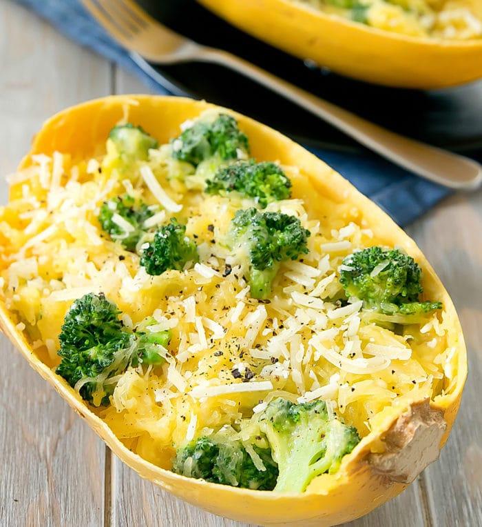 photo of Cheesy Garlic Spaghetti Squash with broccoli