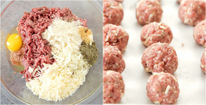 photo collage of the ingredients for the meatballs in a bowl and the raw meatballs lined up on a baking sheet