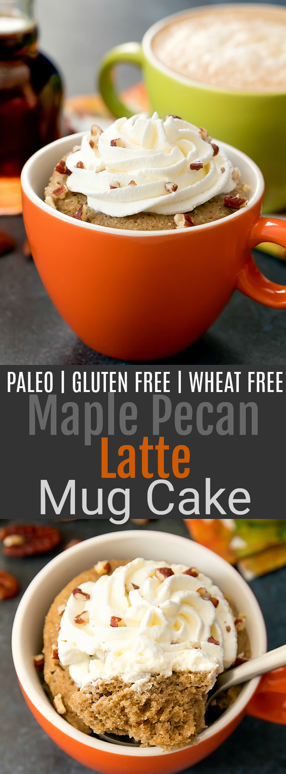 Maple Pecan Latte Mug Cake. A single serving cake that cooks in the microwave in less than 2 minute. This cake is also paleo and gluten free.