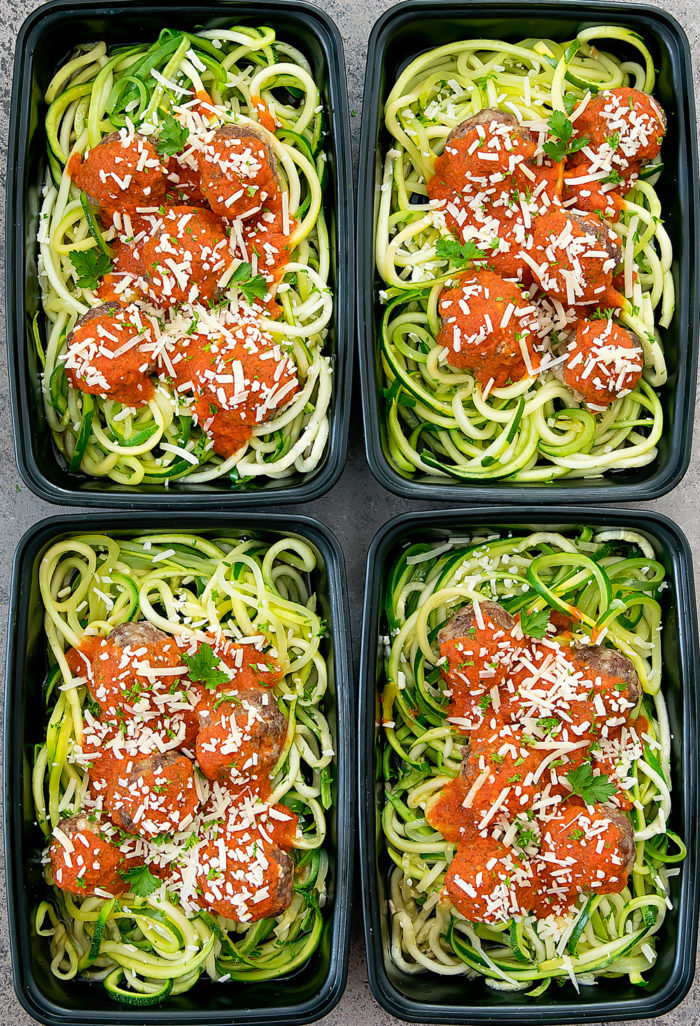 overhead photo of four meal prep containers with zucchini noodles and meatballs