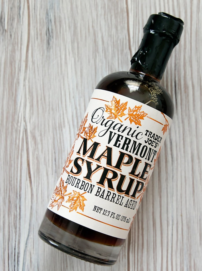bottle of bourbon barrel aged maple syrup