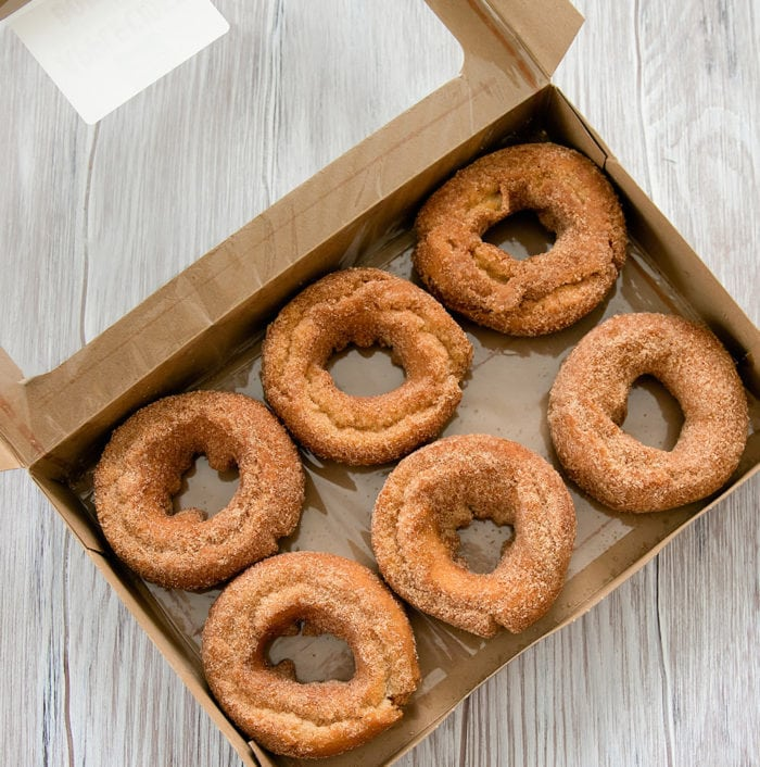 open box of Apple cider donuts from Trader Joe's