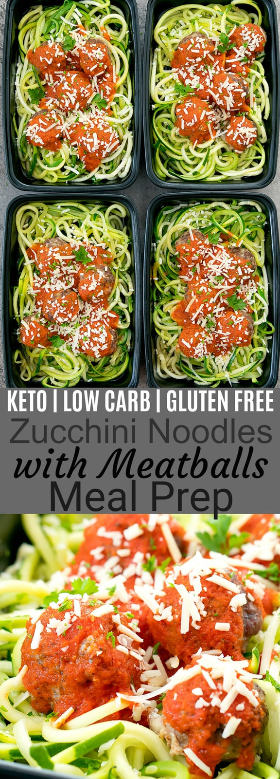 Zucchini Noodles with Meatballs Meal Prep. Low carb, keto friendly, gluten free and easy to make!