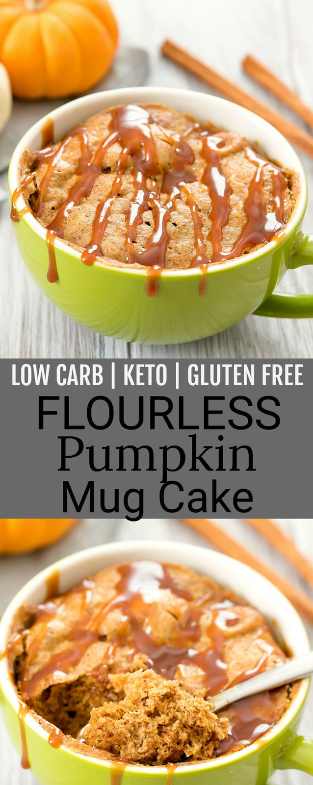 Flourless Pumpkin Mug Cake. This easy microwave mug cake is low carb, keto and gluten free!