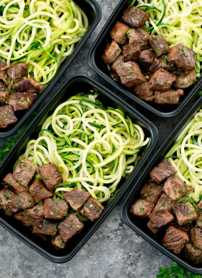 overhead photo of Garlic Butter Steak Bites with Zucchini Noodles