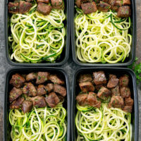 garlic butter steak with zucchini noodles