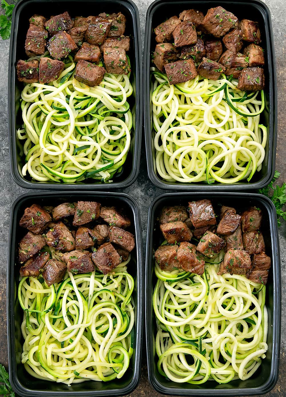 Garlic Butter Steak Bites With Zucchini Noodles Meal Prep Kirbie S Cravings
