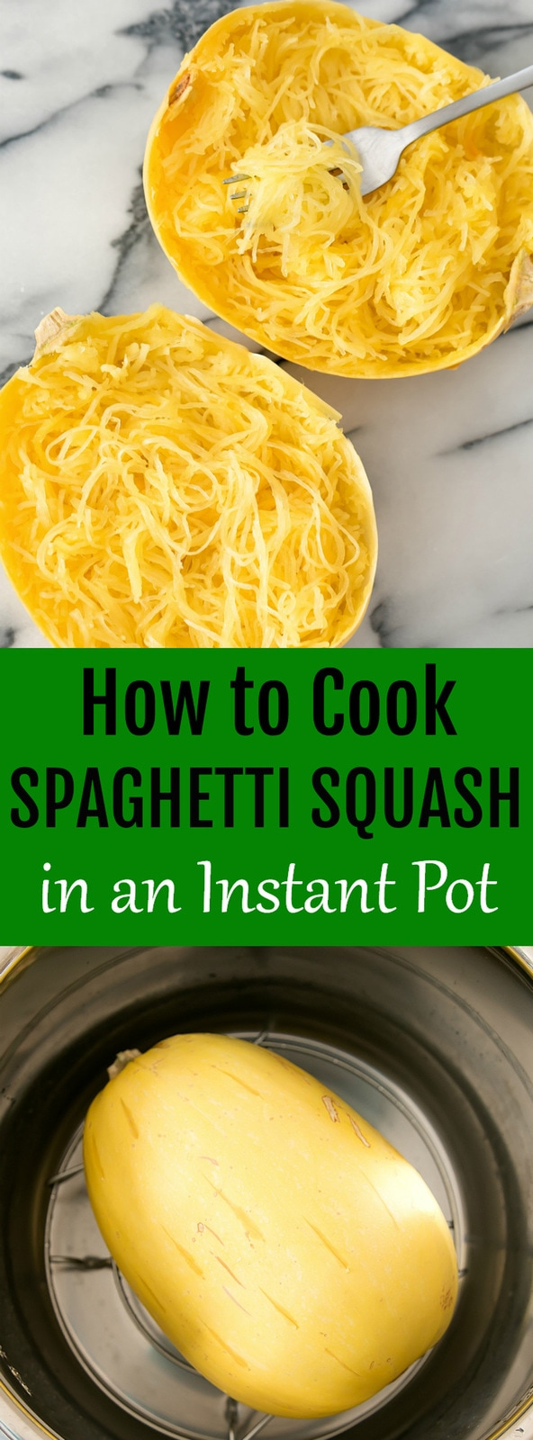 How to Cook Spaghetti Squash in the Instant Pot. This method is so quick and easy. The squash is cooked in about 15 minutes! Step by step tutorial and video included.