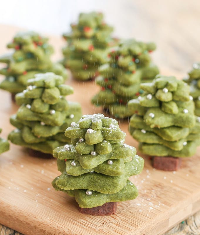 photo of matcha shortbread christmas tree cookies