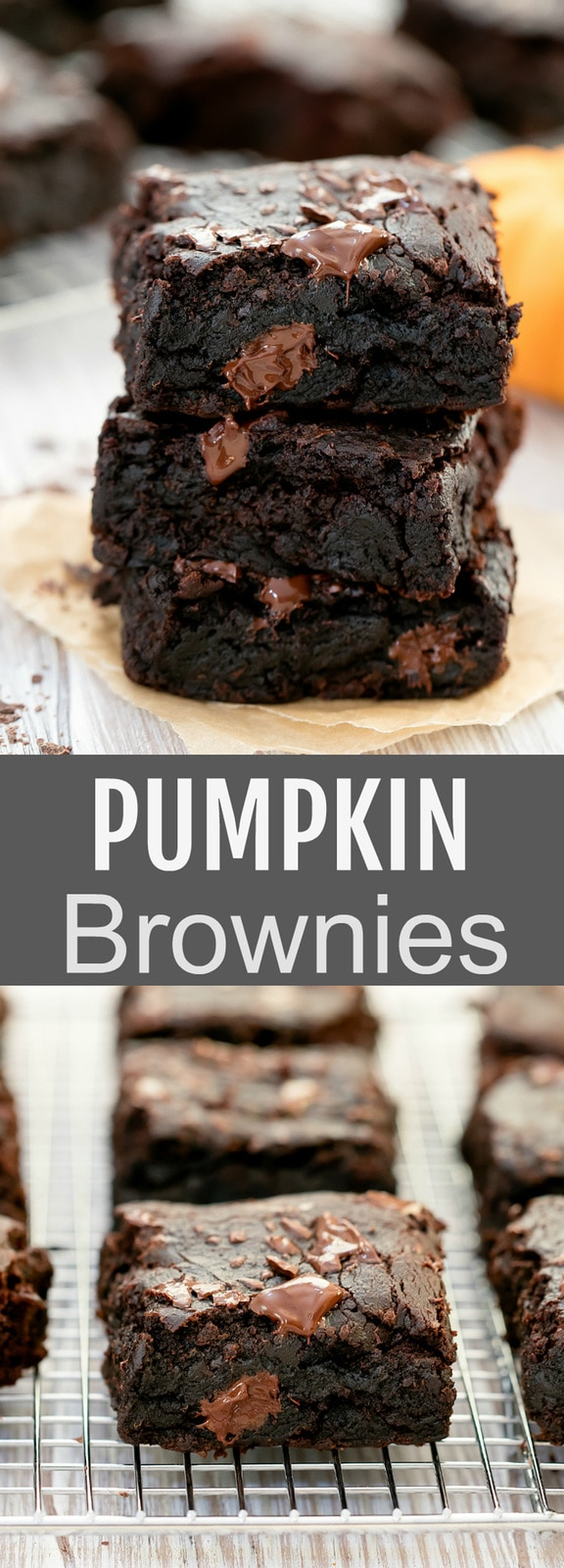 Pumpkin Brownies. Super fudgy moist chocolate brownies. This easy (eggless) one bowl recipe makes the most amazing brownies. They are also healthier with the use of pumpkin puree.