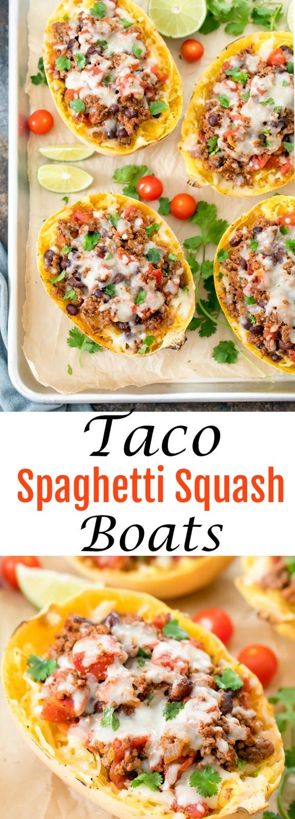 Taco Spaghetti Squash Boats. Low carb, easy, delicious alternative to taco pasta.