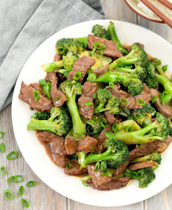 overhead photo of a plate of Beef and Broccoli