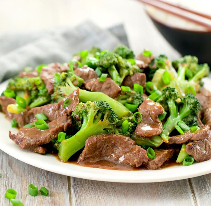 close-up photo of a plate of Beef and Broccoli