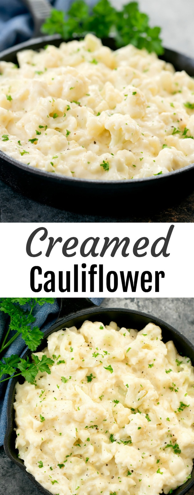 Creamed Cauliflower. An easy side dish perfect for the holidays and ready in less than 30 minutes. Tender cauliflower florets are cooked in a creamy, cheesy sauce. A fun twist on traditional creamed spinach or creamed corn.