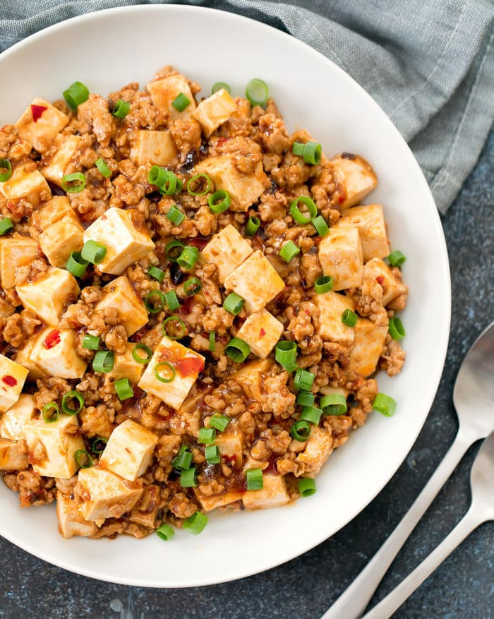 close-up overhead photo of a bowl of Mapo Tofu