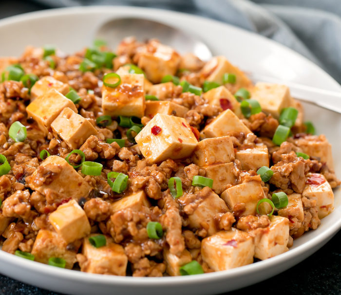 close-up photo of Mapo Tofu