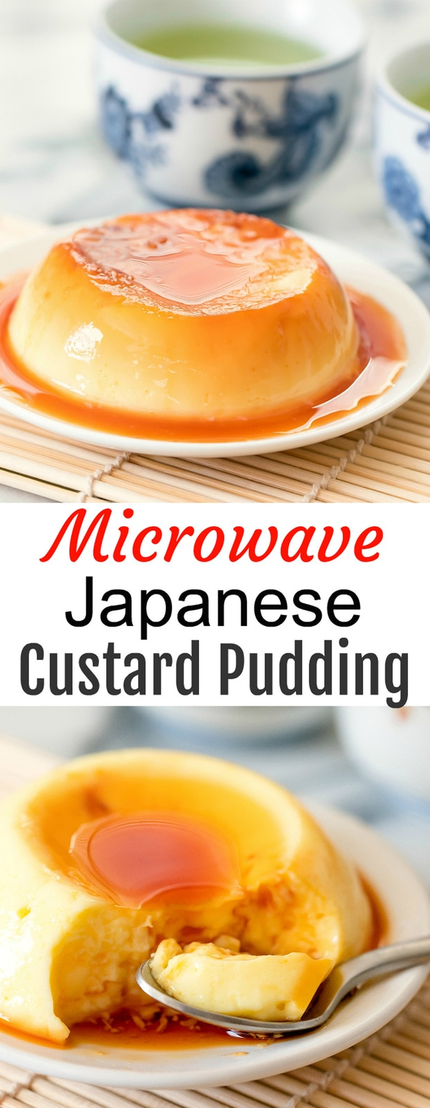 Microwave Japanese Custard Pudding. Silky, creamy purin pudding. This is a single serving shortcut microwave version of purin pudding, which is a flan-like egg custard dessert.
