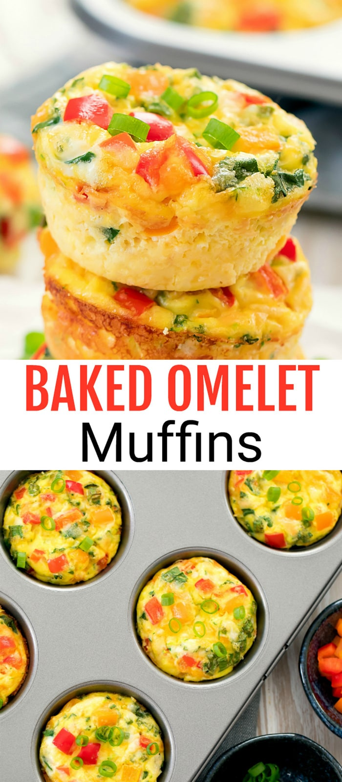 Baked Breakfast Omelet Muffins. These egg muffins are loaded with omelet ingredients. They are easy to make, portable, and store well for meal prep.