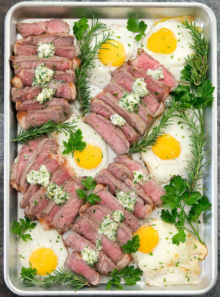 overhead photo of Sheet Pan Garlic Butter Steak and Eggs