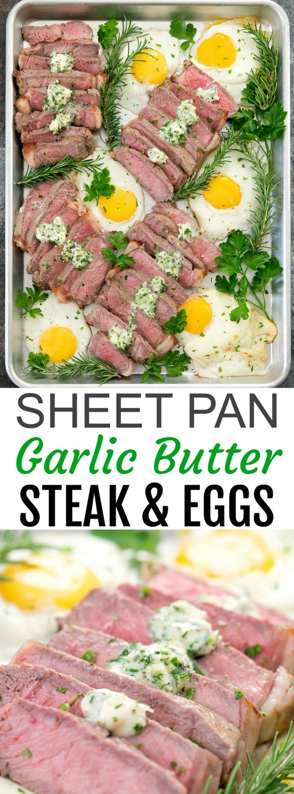 Sheet Pan Steak and Eggs. An easy breakfast that cooks in about 10 minutes. Everything cooks on one sheet pan.