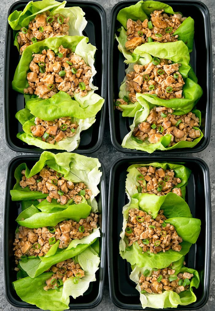 overhead photo of vegetarian lettuce wraps in meal prep containers
