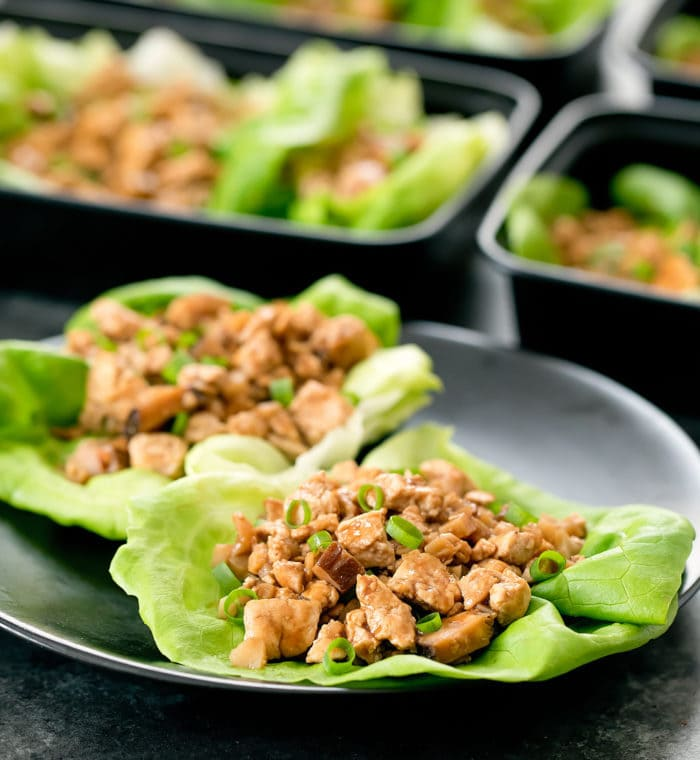 photo of two lettuce wraps on a plate