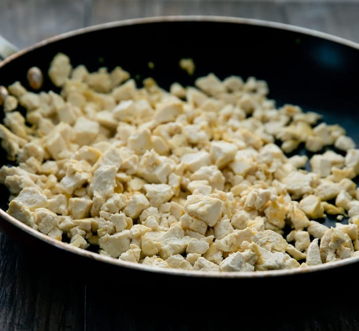 close-up photo of tofu in a skillet