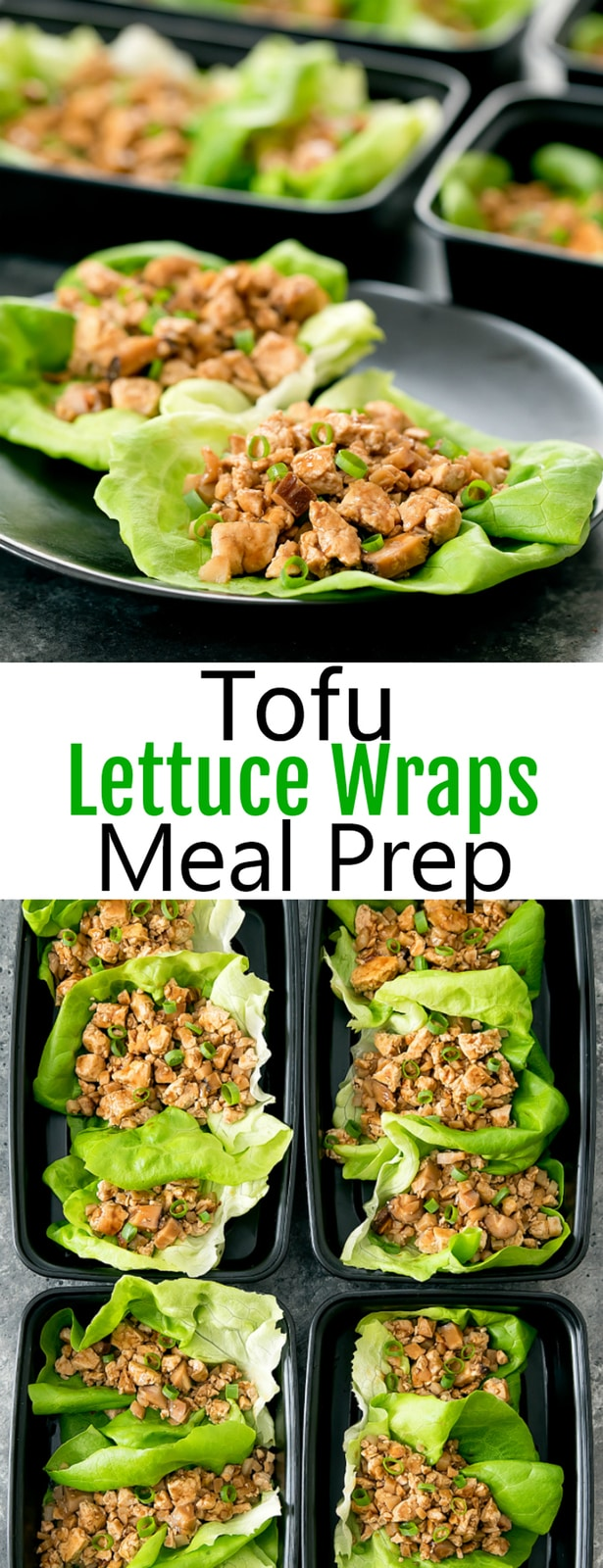 Vegetarian Tofu Lettuce Wraps Meal Prep. A copycat version of P.F. Chang's lettuce wraps. Easy to make, cheaper and better than take-out.