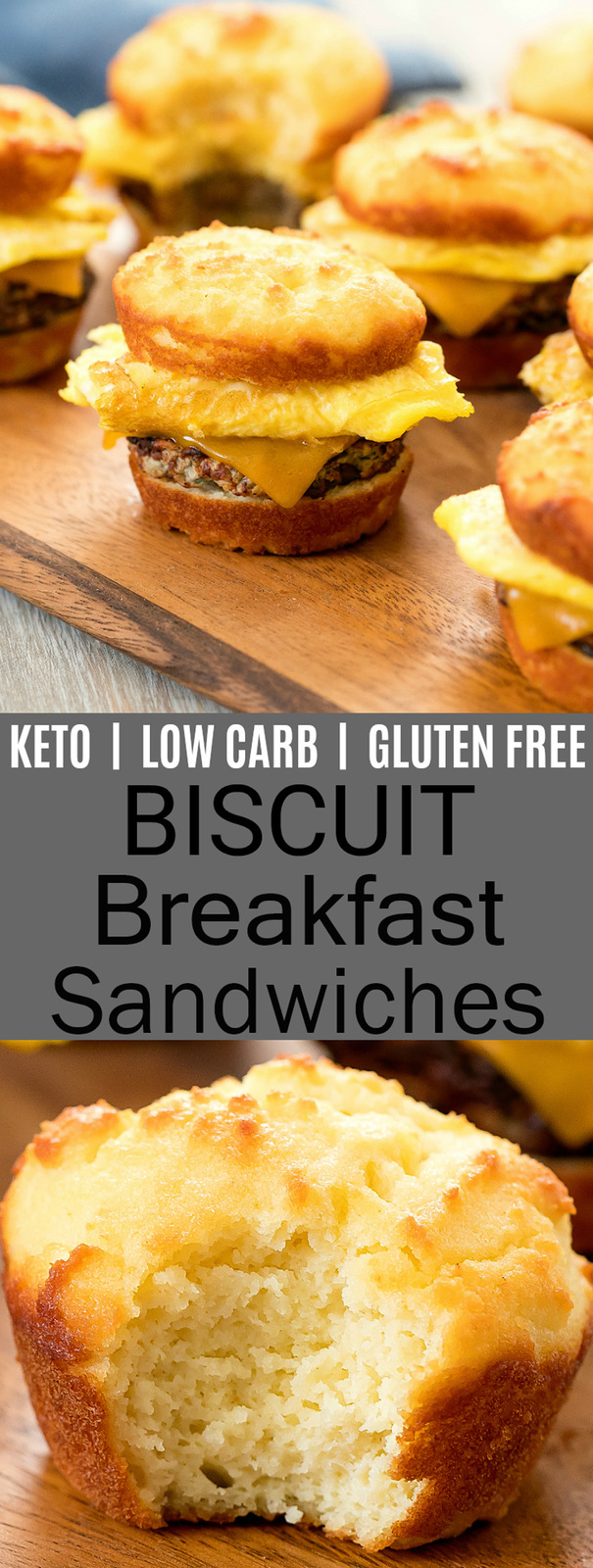 Low Carb Keto Biscuit Breakfast Sandwiches. These mini sandwiches are made with super easy, soft and tender biscuits. They store and reheat well, making them great for meal prep
