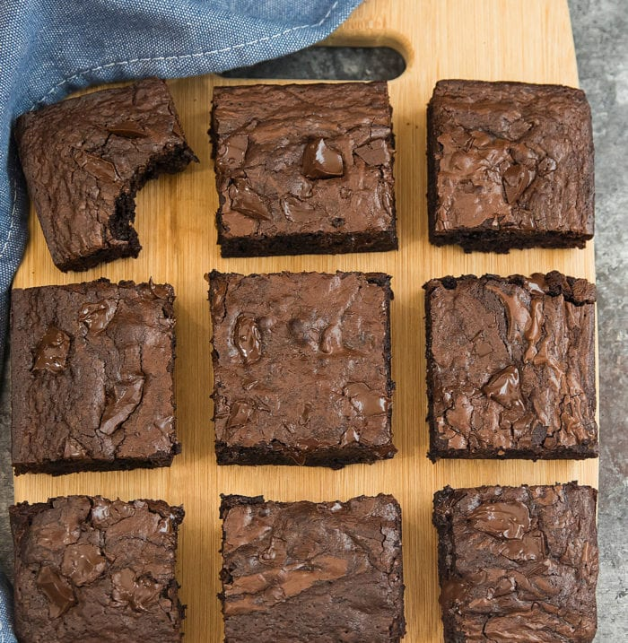 overhead photo of brownies on a cutting board