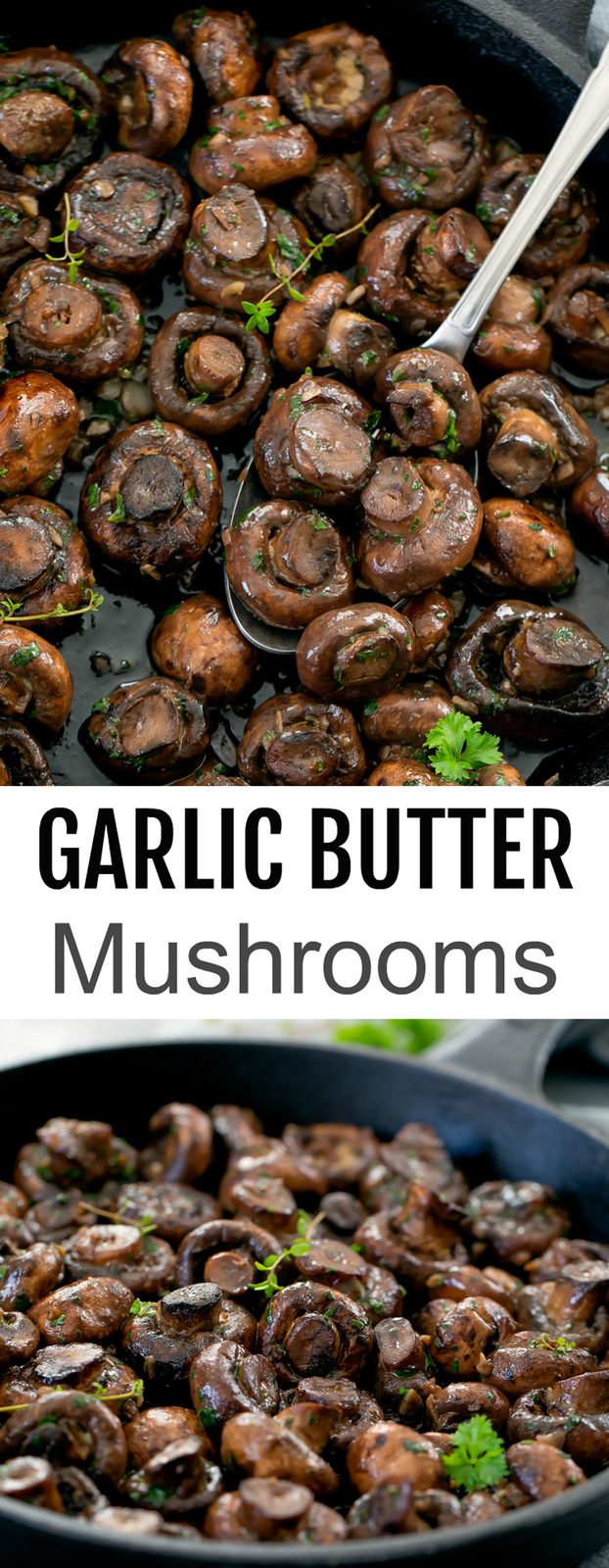 Sauteed Garlic Butter Mushrooms. A super easy side dish that works well with steak or any occasion. It's also low carb, gluten free and keto friendly.