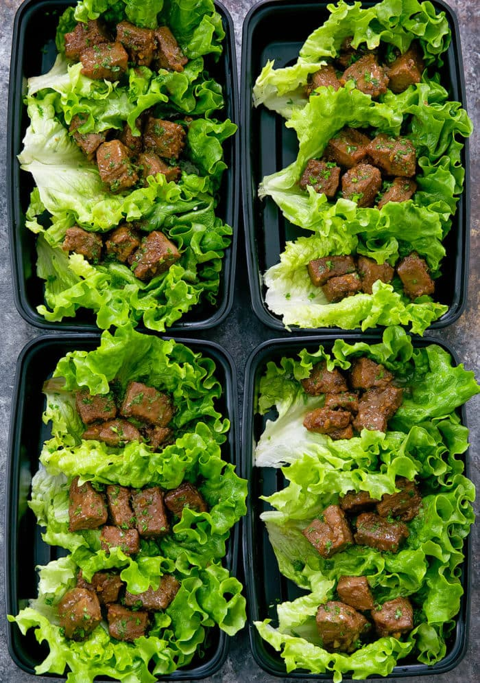 Honey Garlic Butter Steak Lettuce Wraps Meal Prep