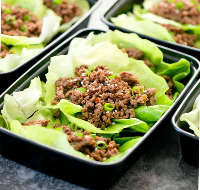 close-up photo of Korean Beef Lettuce Wraps