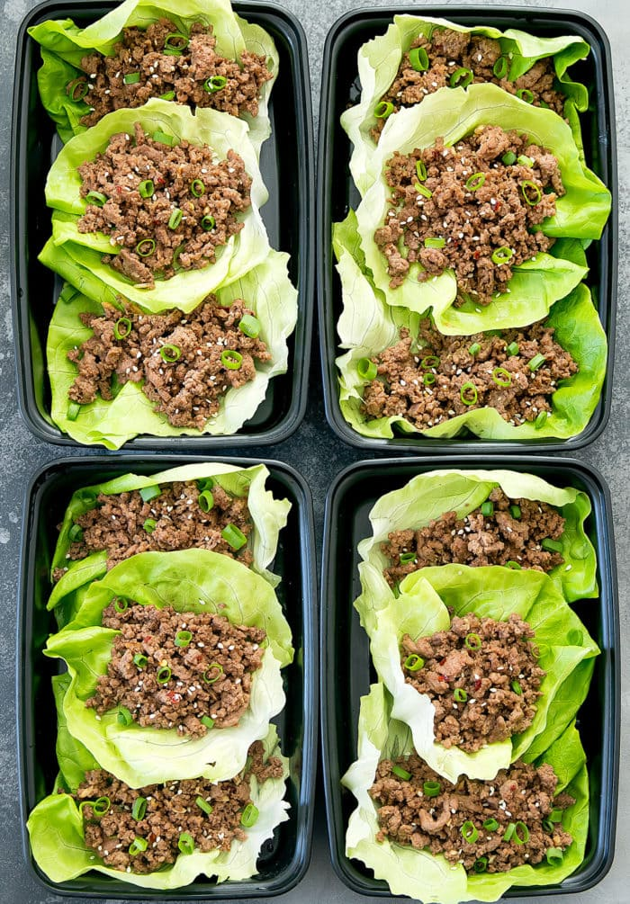 overhead photo of Korean beef lettuce wraps in a meal prep container