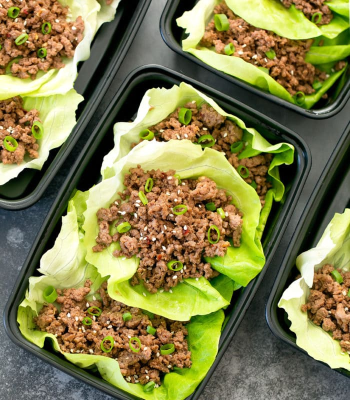 overhead photo of three Korean Beef Lettuce Wraps