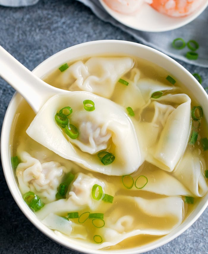 overhead photo of a bowl of wonton soup
