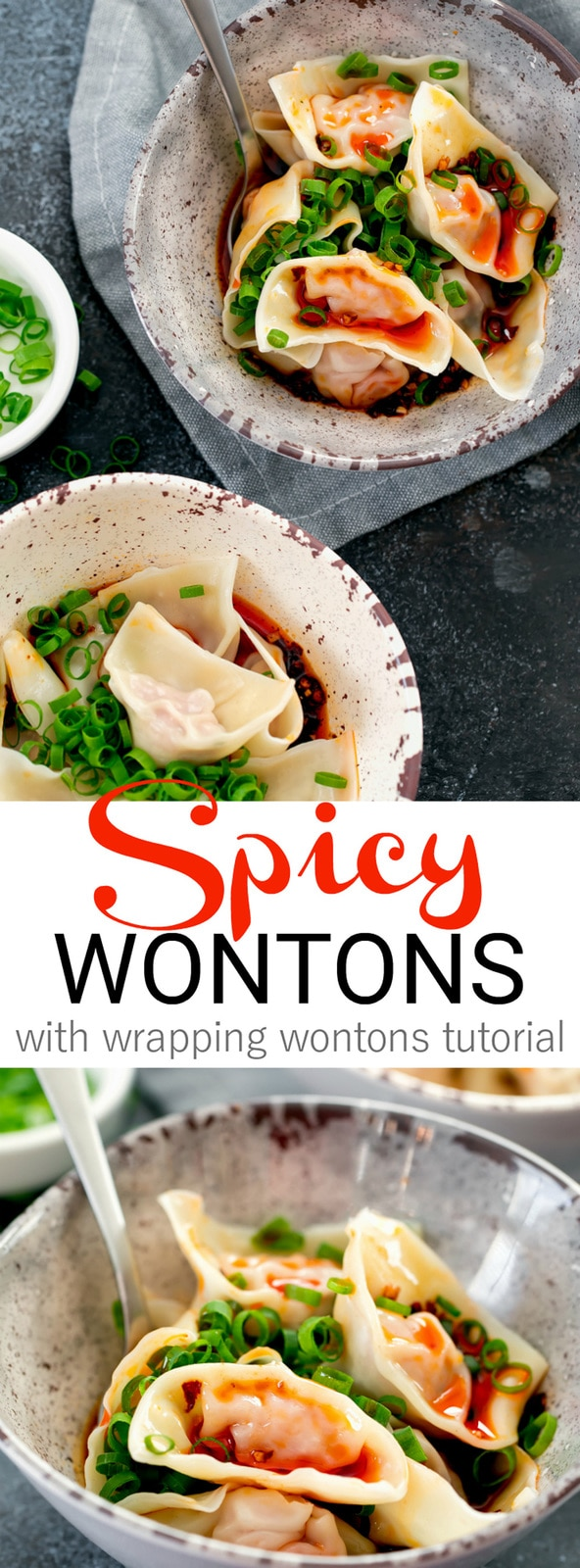 Sichuan Spicy Wontons. Wontons are coated in a spicy, sweet, garlicky chili sauce. It's a hearty and popular Chinese dish perfect for winter.