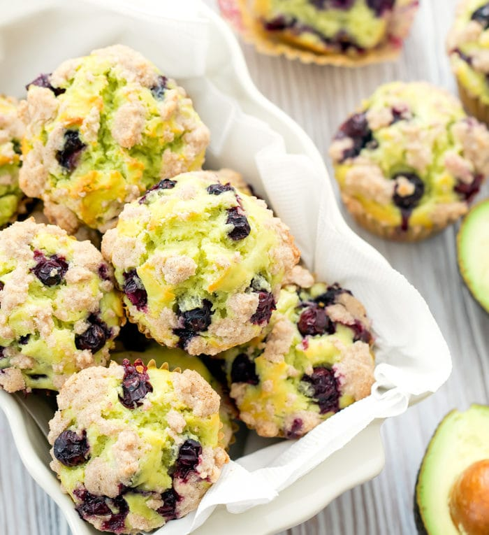 overhead photo of Avocado Blueberry Muffins