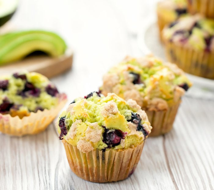 close-up of one Avocado Blueberry Muffin