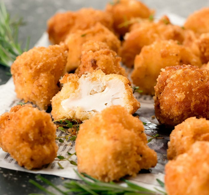 close-up photo of cauliflower bites
