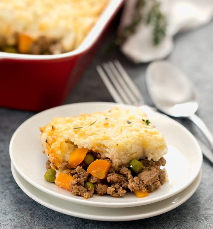 photo of a serving of shepherd's pie on a plate
