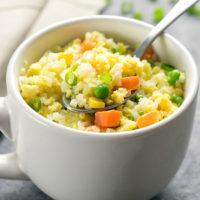 photo of a mug of cauliflower fried rice