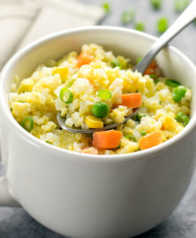 photo of a mug of cauliflower fried rice